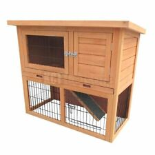 3FT OUTDOOR RABBIT HUTCH AND RUN WITH 2 TWO TIER WOODEN GUINEA PIG BUNNY PET