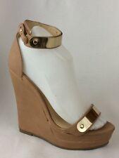 Forever 21 Ankle Strap Tan Gold Wedge Buckle Platform Heels Shoes Womens 7 Med