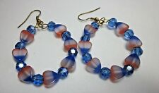 BLUE / PINK & WHITE  CAT'S EYE &  BLUE SWARVORSKI CRYSTAL GOLD HOOP EARRINGS