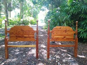 One pair (2) Solid Cedar Adirondack Twin Headboards with Cannonballs Lake Cabin