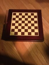 Seven In One Game Set Wood Box With Checkers Chess Backgammon Cribbage