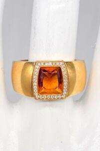 Cartier $9000 Fancy Cut 3ct Citrine Diamond 18k Yellow Gold UNISEX Ring Band 20g