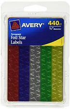 3960 STAR LABELS!! Avery 6007, 0.5 Inch Diameter Assorted Foil, 3960/Pk - NEW