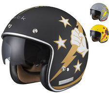 Limited Edition Black Airborne Open Face Motorcycle Helmet Scooter Sun Visor