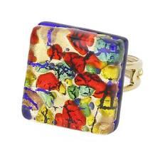 GlassOfVenice Murano Glass Venetian Reflections Square Adjustable Ring - Golden