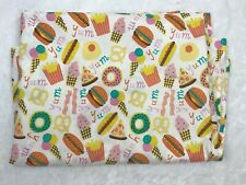Twin Flat Sheet Junk Food Donut Hamburger Ice Cream Bacon Pizza Print White