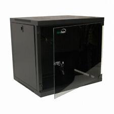 9U Basic IT Wall Mount Network Server Data Cabinet Rack Glass Door Locking Black