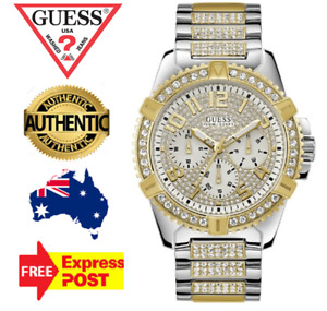 GUESS FRONTIER W0799G4 SILVER/GOLD/CRYSTAL TWO-TONE MENS QUARTZ WATCH NEW IN BOX