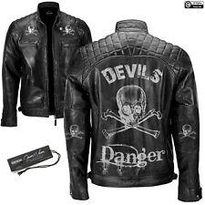 Mens Black Distressed Bikers Motorcycle Cafe Racer Leather Jacket Skull Design