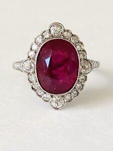 Gorgeous Antique Edwardian Platinum Filigree Ring w/ 5.28 ct Unheated Ruby & Dia