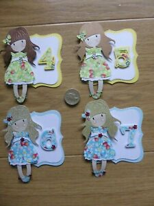 4 cute Little Girls 4 5 6  & 7th  strawberry handmade Birthday Card Toppers #2
