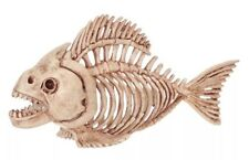"Skeleton Fish Piranha Halloween Decor - Movable Jaw - 10"" Long - NWT"