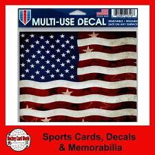 "(HCW) United States USA Wavy Flag Multi-Use Decal Clear Back 5""x 6"" *FREE SHIP"