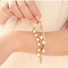 Fashion Women's White Pearl Clover Leather Rope Bangle Bracelet Jewelry Gift