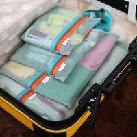 Mesh Toiletry Bag Cosmetic Makeup Storage Bags Organizer W/Zipper 4pcs #D