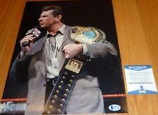 BECKETT-BAS WWE-WWF VINCE MCMAHON AUTOGRAPH-SIGNED 11x14 PHOTO-PHOTOGRAPH E67750
