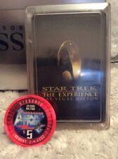 rare 2002 star trek experience las vegas original $5 betting chip and card dec
