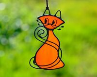 Stained glass cat, kitty window decor, cat lover gift, red cat suncatcher