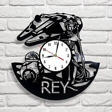 Rey Star Wars design vinyl record clock home decor art gift move move game 1