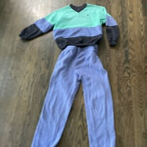 VINTAGE 1980s ADIDAS Warm Up Track Tennis Suit Periwinkle Teal Pants & Top Small