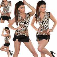 New Women Sexy top leather Leo look ladies sleeveless blouse Size 8 10 12 Shirt