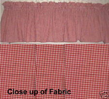 New Red White Gingham Checkered Check Valance Curtain