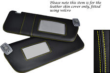 YELLOW STITCHING FITS PEUGEOT 306 93-02 2X SUN VISORS LEATHER COVERS ONLY