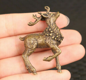 Fortune Chinese old bronze hand cast deer statue figure collectable glass cup