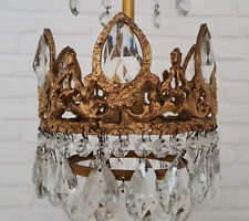 Antique Vintage Brass & Crystals French Small Chandelier Lighting Ceiling Lamp
