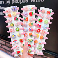 10pcs/set Cute Children Bow Hairpin Fruit Candy Color Hair Clips Girls Headwear