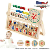 Wooden Toys Baby Kids Math Learning Developmental Studying Flap Abacus Toy