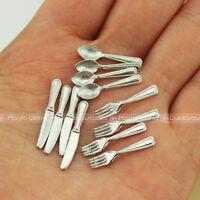 Mini Tableware Knife Fork Spoon Dining Silver 1:12 Dollhouse Miniature 12pcs Kit