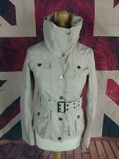 #722A SOS Jensen Ladies Cream Belted Utility Waterproof Trench Coat Jacket, S