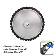"350mm 14 Inch Rubber Serrated Belt Grinder Wheel Polishing Contact Wheel 1"" Hole"
