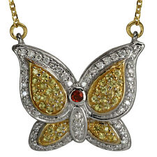 Diamond Necklace Butterfly Necklace With Pave Diamonds And Yellow Sapphires 14k