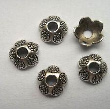40pcs beautiful Tibet silver Flower End Beads Caps 3x8mm