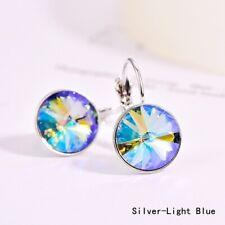 Drop Earring Thanksgiving Jewelry New Fashion Silver Round Blue Zircon Dangle