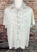 Nat Nast Mens XL Silk Blend Short Sleeve Button Up Camp Shirt Green Leaves