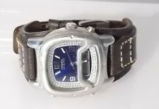 Fossil Blue Men's BQ9200 Brown Leather Strap Analog Digital Blue Dial Watch