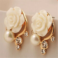 New Fashion Gold Plated White Rose Flower Pearl Stud Earrings For Girls/Women