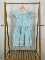 VTG Betty Oden Baby Girl Party Circle Lace Floral Blue Dress Size 8 USA