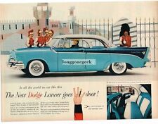 1956 Dodge Custom Royal Lancer 2-tone Blue 4-Door car Vtg Print Ad