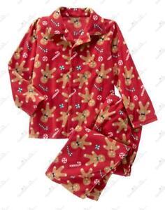 NWT Gymboree Red 2-Piece Long Sleeve Christmas Holiday Gingerbread Pajama Sz 7-8