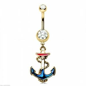 Belly Ring Nautical Anchor Red/White/Blue w/Clear Gems Gold Plate Dangle Naval B