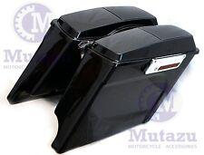 "Mutazu 4"" Stretched Extended bags Touring Hard Saddlebags w/ 6x9 Speaker lids"