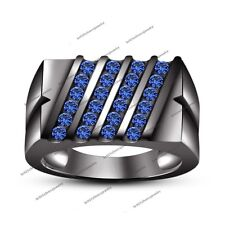 Men's 5/6 CT Blue Sapphire Slant Row Wedding Band Ring in Black Rhodium Over