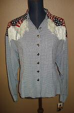 PAMELA BRANDT Western Cowgirl Checkered Stars & Stripes Fringe Top Size M NWT