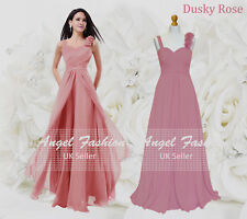 Formal Chiffon Long Evening Ball Gown Party Prom Wedding Bridesmaid Dress UK Dusky Rose 8 - 10
