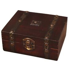 Wooden Vintage Lock Treasure Chest Jewelery Storage Box Case Organiser Ring J6L7