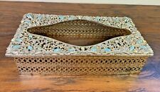 Vintage Silver Toned Metal Tissue Kleenex Box Holder Cover Fake Turquoise Gems
